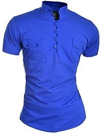 D&R Fashion Mens Summer Shirt Short Sleeve Grandad Collar Slim Fit
