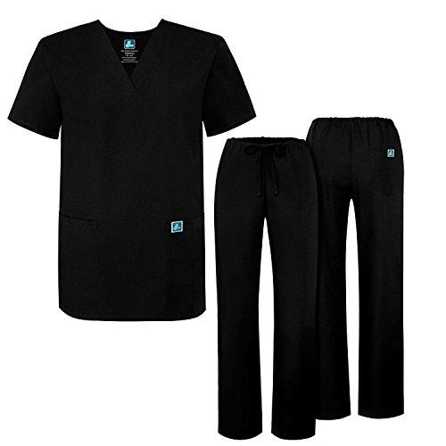 al Scrubs Set Medical Uniforms - Unisex Fit - 701 - BLK -M (Krankenschwester Kostüm In Schwarz)