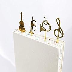 Idea Regalo - Amupper, 4 segnalibri a forma di strumenti musicali, in acciaio inox placcato oro 18K