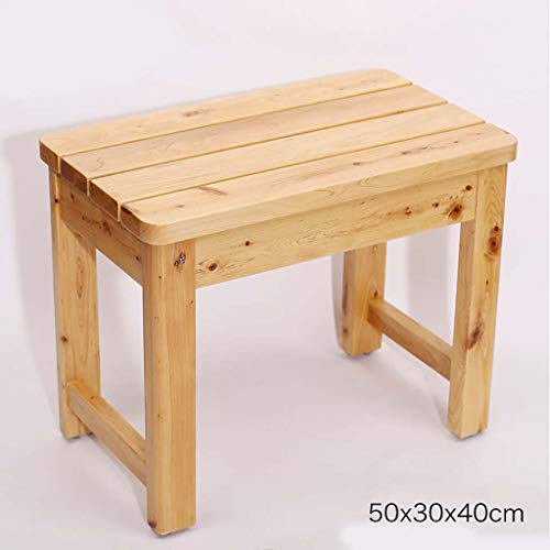 Tabouret de salle de bain en bois massif naturel petit banc en bois pédale de chevet imperméable anti-corrosion tabouret bas banc haut banc 50 * 30 * 40cm (Couleur : B)