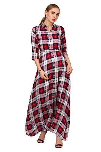Elywomen Multicolored Collar Neck Rayon Checkered Maxi Dress