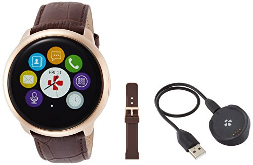 MyKronoz ZeRound - Reloj inteligente/pulsera de fitness, unisex, Smartwatch Fitnesstracker ZeRound Premium mit Lederarmband, braun (KRZEROUND-PREM-LEA-GOLD)