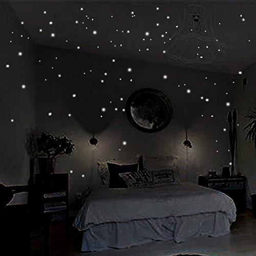 Coceca 400 Leuchtpunkte für Sternenhimmel,Wandsticker Leuchtaufkleber, Fluoreszierend und im Dunkeln leuchtend (Spiegel In Länge, Für Mädchen Voller)