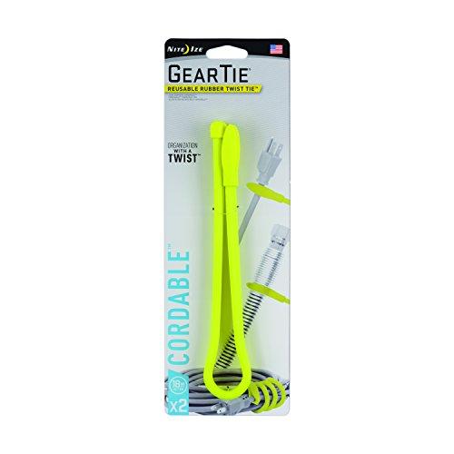 Nite Ize Unisexe Gear Cordable Twist Tie (Lot de 2), Jaune Fluo, 45,7 cm