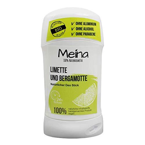 Meina Naturkosmetik - Deo Stick ohne Aluminium mit Limette und Bergamotte (1 x 75 g) Bio Deodorant für Damen und Herren - vegan, alkoholfrei, handgemacht - 24 Std. Schutz -