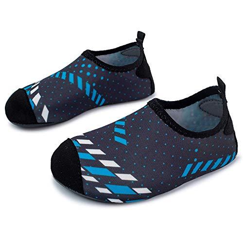 JOINFREE Baby Jungen Mädchen Nette Wasser Schuhe Socken Weiches Licht Kinder Strandschuhe Schnell Trocknend Pool Schuhe, Schwarze Blaue Linie, 24-25 EU