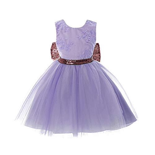 Inlefen Blumenmädchen Kleid Hochzeit Geburtstag Pailletten Bowknot Floral ärmellose Prinzessin formelle Kleidung für Baby Kleinkinder Kinder 0-5 Jahre (Alten Halloween-kostüme 5-yr Mädchen)