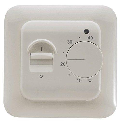 SM-PC® Thermostat Fußbodenheizung Elektroheizung Unterputz weiß mit eingebautem Temperaturfühler + externer 3m Bodensensor #a56