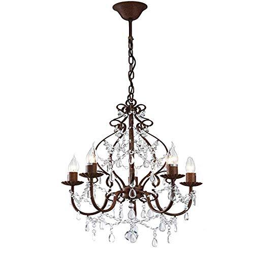 FTFTFTF Kronleuchter für Wohnzimmer, Classical 5 Arms Transparent Jewel Crystal Glass und Chrome Pendant Ligh D43cm H53cm,A -
