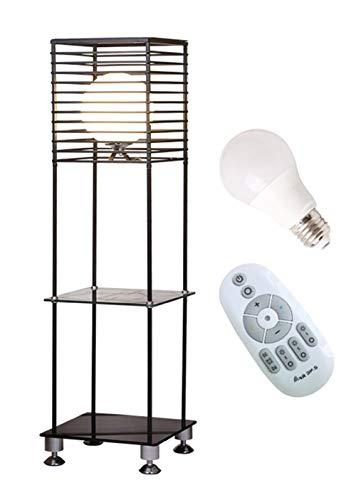 LED Stehleuchte Dimmbar, Mit Regal, Stehlampe Mit Fernbedienung, Wohnkultur Lampen, (5W, Timing-Funktion, Nachtlichtmodus, Hoher Heller Glasschirm, Eisenlampenkörper, E27 Lampenfassung) -