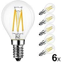 LVWIT 4W E14 Filament LED Edison Lampe P45, 2700K Warmweiß, Ersatz für 40W Glühlampe, ultrahell 470 lm, Rustikalampe Filamentstil klar (6er Pack)
