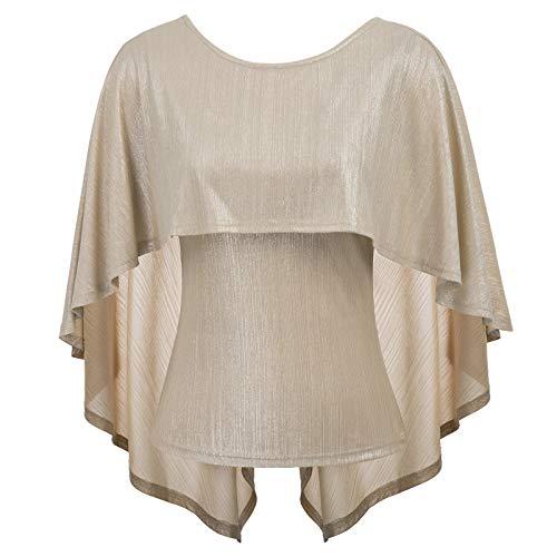 Grace karin camicia donna elegante bluse scollo tondo camicia donna per primavera estivo d'oro chiaro s cl10875-2