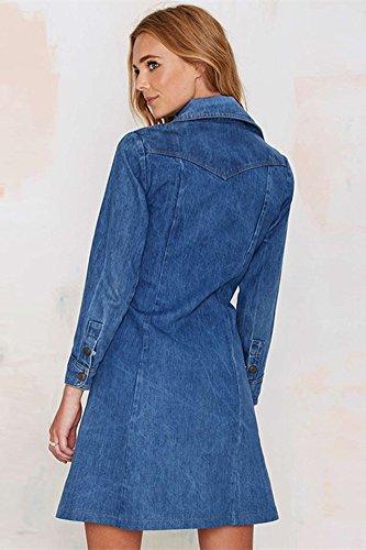 SZIVYSHI Sequined Nähendes Hohles dünnes Kleid der Frauen Blau