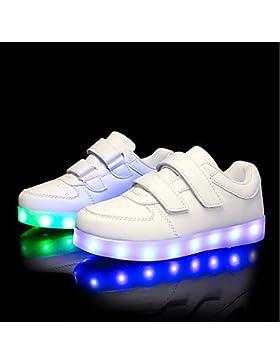 Muchachos Aemember' Zapatos PU otoño invierno iluminan zapatos casual para LED blanco y negro,Blanco,US5.5 / UE37...