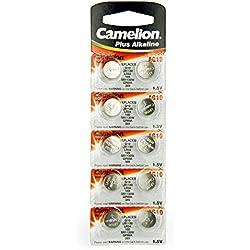 10 Camelion AG10 / LR54 / 189 / 389 / LR1130 pile bouton, longue durée de conservation (date d'expiration marqué)