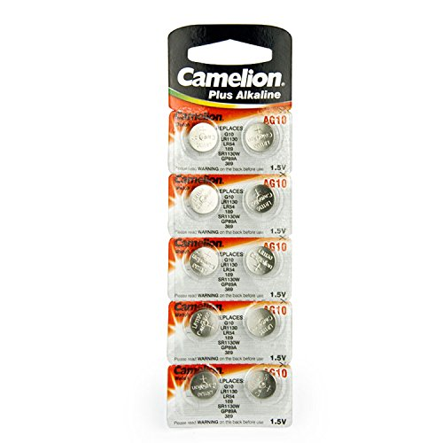 10 CAMELION AG10 / LR54 / 189 / 389 / LR1130 Button Cell Watch Battery With Long Shelf Life (Expire Date Marked)