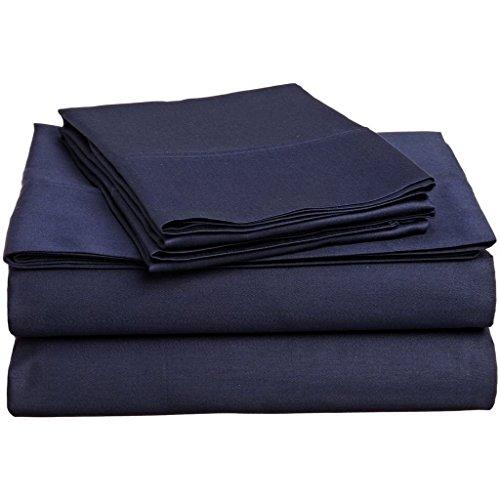 500hilos 4piezas Juego de sábanas (azul marino sólido, Reino Unido tamaño Super...
