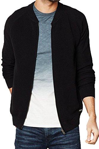 Hommes Threadbare Tallinn Fermeture Éclair Tricot Neuf Créateur Bomber Style Cardigan Tricot Noir