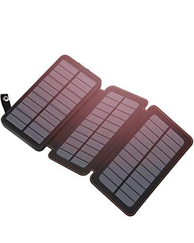 Cargador solar ADDTOP con gran capacidad  El banco de energía solar 24000mAh puede cargar rápidamente un iPhone6 por más de 10 veces, un iPhone 7 por más de 9 veces, Galaxy S6 por más de 6 veces, iPad mini por 3,8 veces. Proporcione suficiente energ...