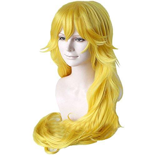 Kostüme Peach Erwachsene (Damen Perücke Lang Gelb 80cm Heat Resistant Wellig Lockig Haar Erwachsene Verrücktes Kleid Zubehör für Halloween Cosplay Kostüm)