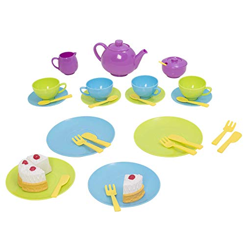 Spielzeug Geschirr Set für Kinder Teegeschirr Kindergeschirr Kinderküche Puppengeschirr Picknick Teeparty Teekanne Kanne Tasse Teller Kaffeeservice Essgeschirr Kinder Besteck Spielset Bunt Kunststoff