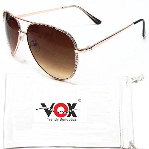 VOX Frauen Aviator Sonnenbrille Strass Modedesigner Jahrgang Klassisch schicke Brillen – Gold Rahmen – Amber Objektiv (Dg Strass Designer)
