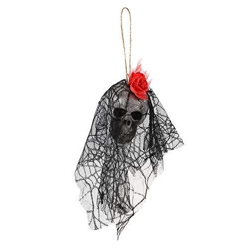 Nrpfell H?ngende Animiertes Skelett Der Hexe-Stütze Geist Gruseliger Hof Im Freien Halloween Dekor Rot & Schwarz