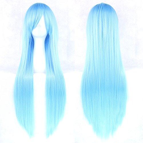 COOOOEENS Synthetische 80 cm Lange hellblaue Farbe Haar für Cosplay Perücken hitzebeständige Faser Haar gerade Perücke Haarteil für Frauen (Lange Hellblaue Perücke)