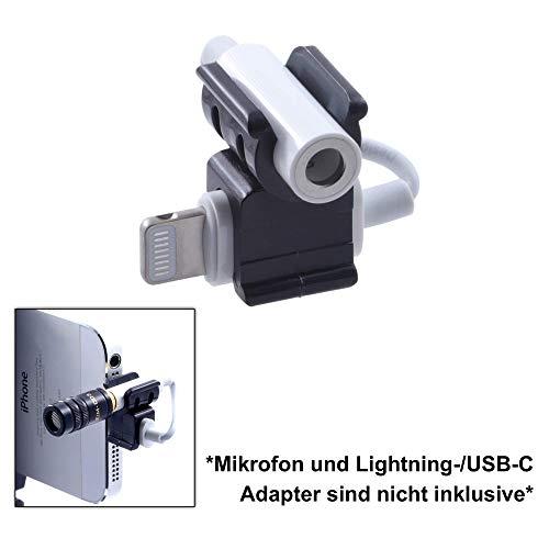 EDUTIGE EMM-001 Mikrofonhalterung für Lightning- und USB-C zu 3,5mm Klinke Audioadapter (schwarz)