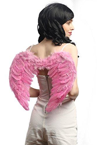 DRESS ME UP - RH-027-pink Halloween Karneval Cosplay Flügel Federflügel Pink Rosa Engel Drag Queen CSD Gothic (Kostüm Schwarz Gefallener In Engel)