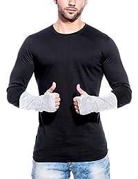 Maniac Men's Fullsleeve Self Designed Black Thumb Hole Cotton Tshirt