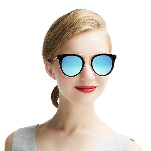 Dada-Pro Vintage Polarisierte Damen Sonnenbrille - Fahrer Brille 100% UV400 Schutz für Autofahren Reisen Golf Party und Freizeit (Blue)