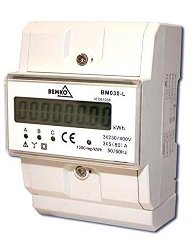 Digitale Stromzähler LCD 3P 3X5(80)A Drehstromzähler A30-BM030-L Bemko 4119