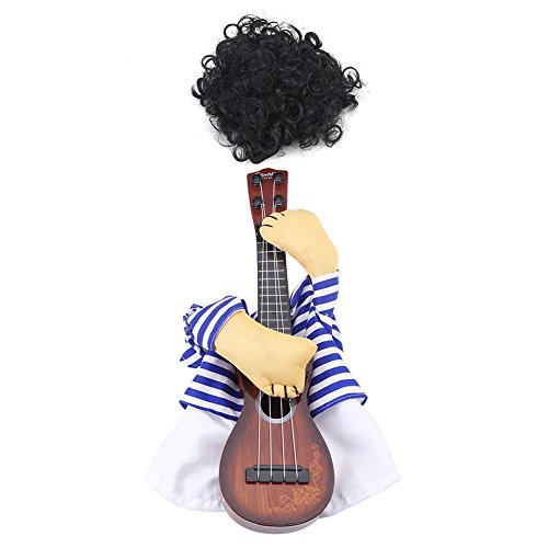 Zouminy Haustier Hund Katze Kostüm Gitarrist Puppy Dress Halloween Weihnachtsfeier Lustiges Kostüm mit Perücke(M) (Hund Halloween-kostüme Besitzer Und)