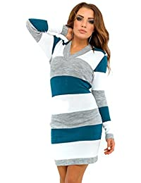 Glamour Empire. Women's Knit Stretchy Warm Jumper Dress Sweater Top Stripes. 405