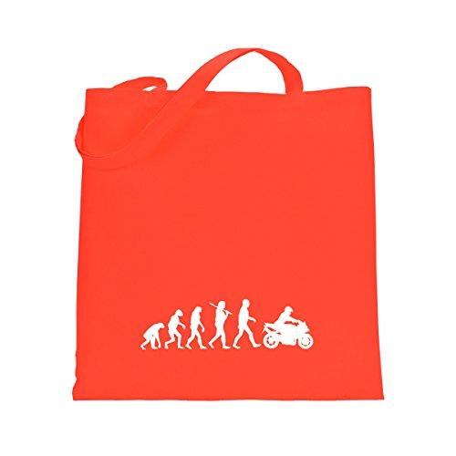 Shirtfun24 Baumwolltasche EVOLUTION BIKER Motorradfahrer, schwarz coral orange