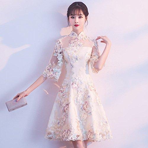 L Y Chinesisches Kleid Verbesserung Kragen Cheongsam Party Kleid Brautjungfer Kleid Frühling und...