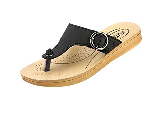Relaxo Flite Women's PU Black Slippers