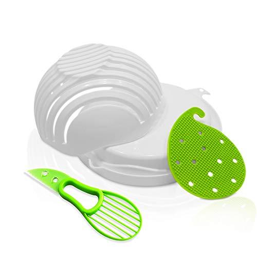 Premium Salat Cutter Schale von kitcheon, Salat und Gemüse Chopper, Salat Maker, Sieb, Servier-Set, Bonus Avocado Messer und Gemüse Scrubber. (Salat Chopper)