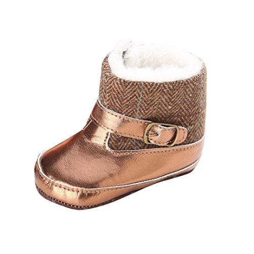 Chaussures Bébé,Fulltime® Baby Girl Or Bottes de neige molle Sole Prewalker Crib Shoes