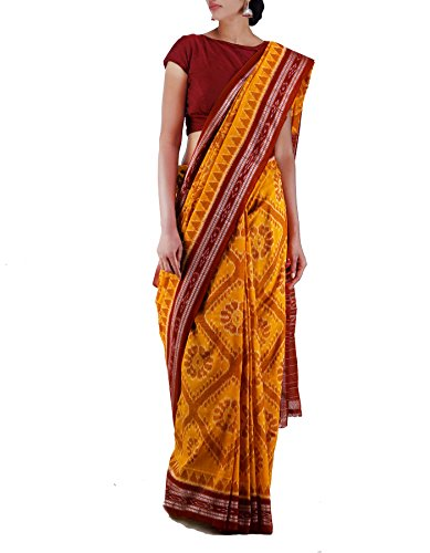 Unnati Silks Women Yellow-Maroon Pure Handloom Sambalpuri Cotton Ikat Saree