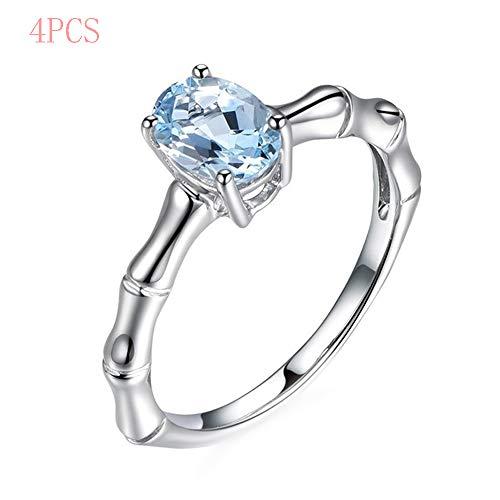 Clluzu Anillo de Pareja Bamboo Sea Blue Zircon Europa y América Anillo de Diamante de Oro Blanco Simple Joyería Moda 4Pcs, 9
