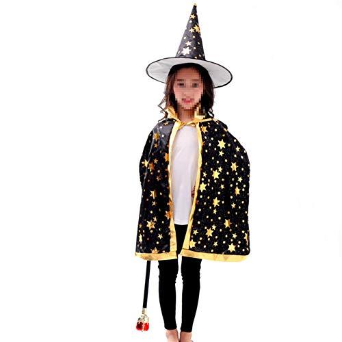 (Halloween Kinder Hut Witch Wizard Mantel mit Hut für Kinder Kinder Jungen Mädchen (Schwarz, 1Set))