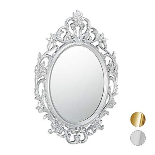 Relaxdays Barock Spiegel, ovaler Spiegel zum Aufhängen, Antik Barock Design, mit Rahmen, Flur, Bad & Wohnzimmer, Silber