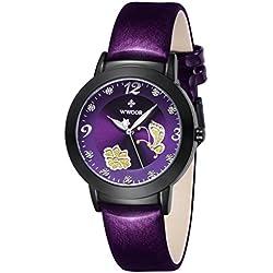 Damen Blume Schmetterling Armbanduhr Damen Kalbsleder Leder Kleid Casual weiblich Handgelenk Uhren Lila