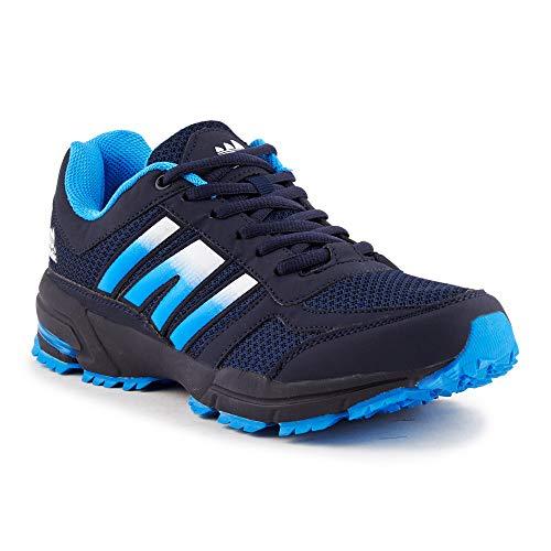 Neon-trainer (Fusskleidung Damen Herren Sportschuhe Unisex Neon Laufschuhe Übergrößen Trainer Gym Turnschuhe Dunkelblau Blau EU 43)