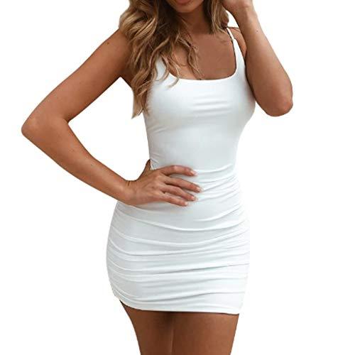 s Frauen-Sleeveless Kleid-reizvoller Riemen Geöffnetes rückseitiges gefaltetes festes Minikleid Sexy Plissiertes rückenfreies Kleid ()