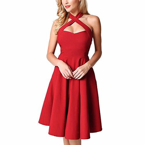 Shanxing Damen Neckholder Kleid Rockabilly 1950er Cocktail Party