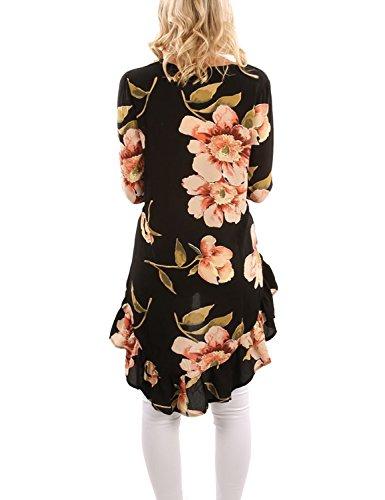 BMJL Frauen Top Blumendruck Asymmetrie Lange Unregelmäßiger Saum Rüschen Falten Hight Low Back lange Bluse Schwarz