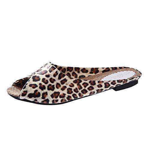 Leather Square Toe Mokassins (Pantolette Damen, Flache Schuhe Leopard Square Heel Schuhe Fischmaul Strandschuhe Badeschuhe Zehentrenner(Gelb,EU 38))